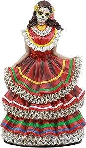 Gifts & Decor Dia De Los Muertos Sugar Skull Red Gown Dancer Figurine Day of The Dead Vivas Calacas