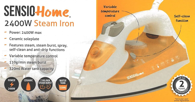 Sensio Home 2400w Steam Iron Ceramic Non Stick Self Clean Function Steam Burst SensioHome