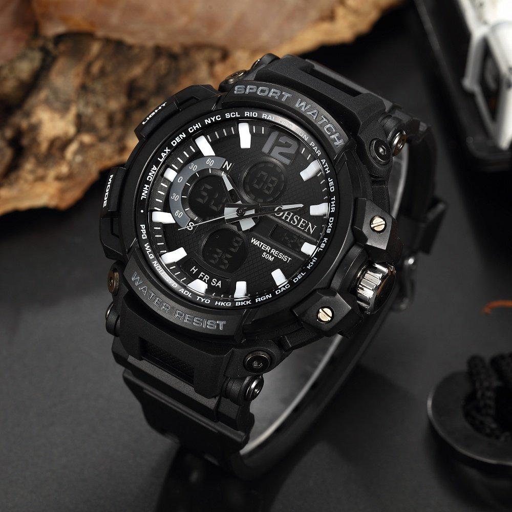 HWCOO AD1713 Casual Deportes correa de silicona reloj multifuncional reloj digital a prueba de agua (Color : 2) : Amazon.es: Relojes