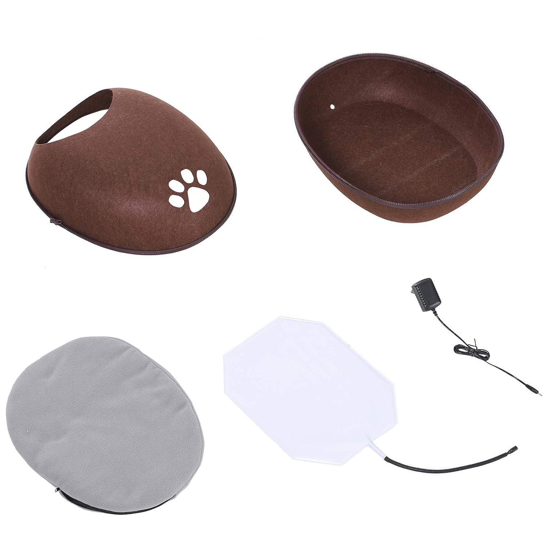 Riscaldante 40 /°C con Cuscino Sfoderabile e Copertura Rimovibile Facile da Pulire Pawhut Cuccia Interni Marrone per Gatti