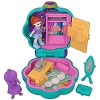 Polly Pocket Mini-Coffret bleu ciel Le Dressing de Lila avec 1 mini-figurine et accessoires miroir, chaise et boite à bijoux, jouet enfant, édition 2018, FRY31