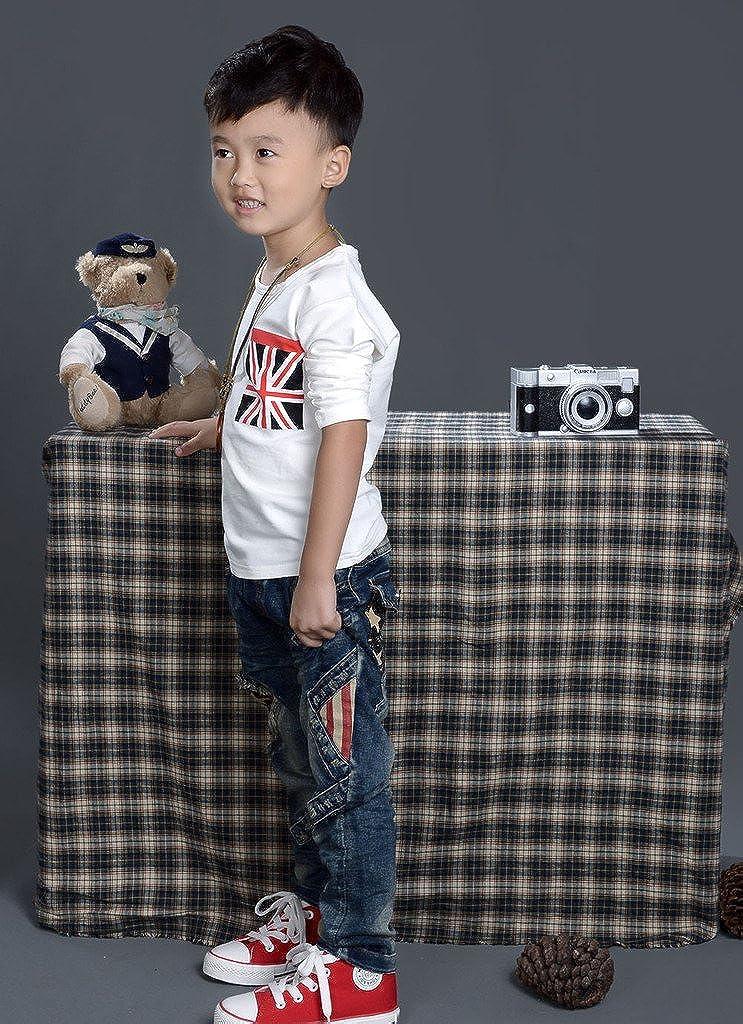 eTree Boys Jeans Stars Fringe Print Vintage Colored Pockets Knee Denim Pants