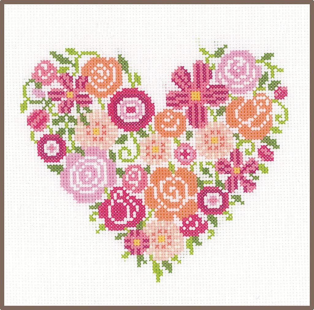 Vervaco – Kit de Punto de Cruz Flor corazón, Cruz Cruz, algodón, Multicolor, 18 x 17 x 0,3 cm: Amazon.es: Hogar