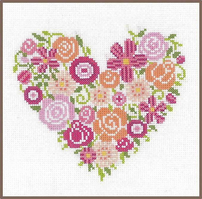motivo Kit per ricamo a punto croce CaptainCrafts farfalle e fiori a forma di cuore bianco