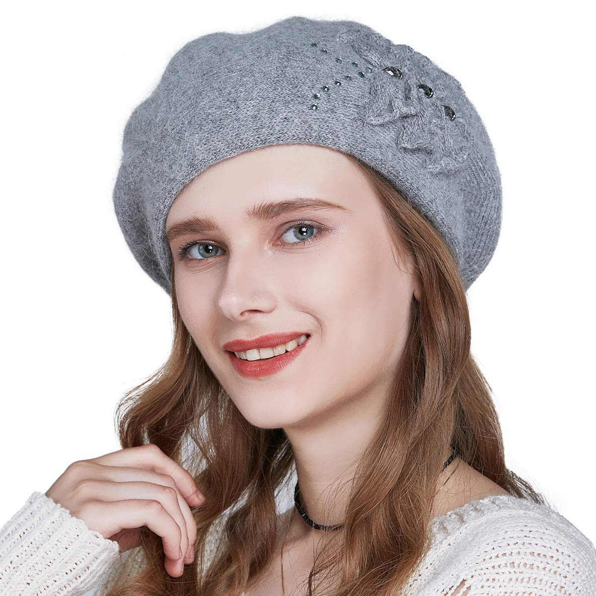 SOMALER Winter Beret Hats for Women French Angora Wool Beret Knit Beanie Lightweight Cap by SOMALER (Image #1)