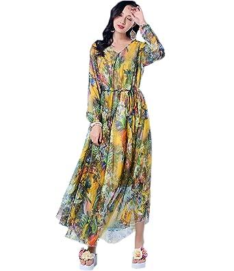 5a7b604203c Medeshe 2018 New Collection Women Long Sleeve Floral Maxi Dress Lightweight  Sundress (Length  115cm