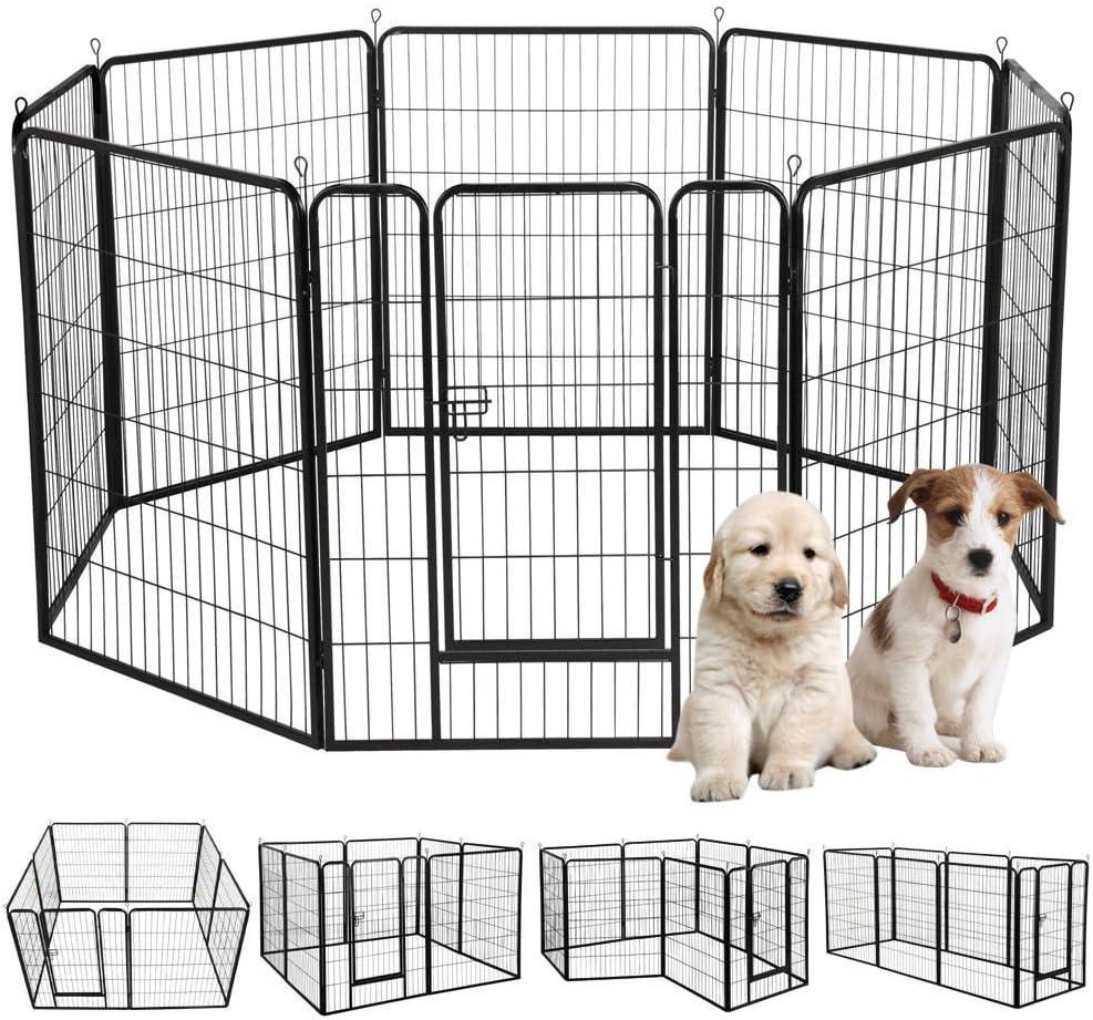 S AFSTAR Safstar Heavy Duty Pet Dog Puppy Outdoor Exercise Playpen Fence Door Black 8 Panels