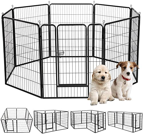 S AFSTAR Heavy Duty Dog Playpen w Door, Pet Puppy Cat Exercise Barrier Fence for Indoor and Outdoor, Black 8 Panels