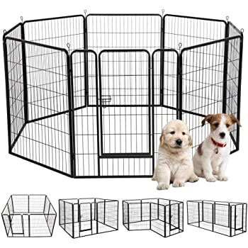Amazon Com Petdanze Dog Pen Metal Fence Gate Portable