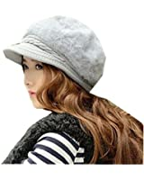 Women's Cable Knit Visor Hat with Flower Accent