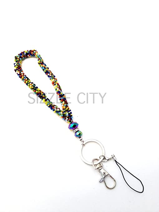 Amazon.com: Colored trenzada/Beaded Lanyards o Wristlets con ...