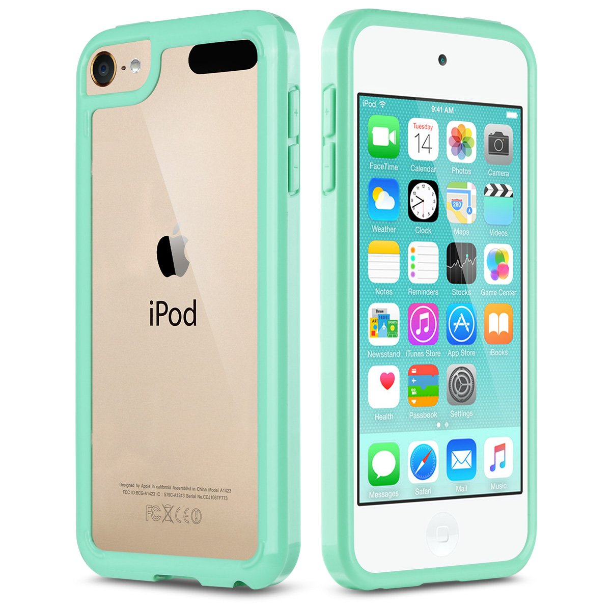 iPod Touch 5 Case, iPod 6 Case, ULAK [CLEAR SLIM] Soft TPU Bumper PC Back Hybrid Case Cover for iPod Touch 5 & 6 6th Gen, Mint Green