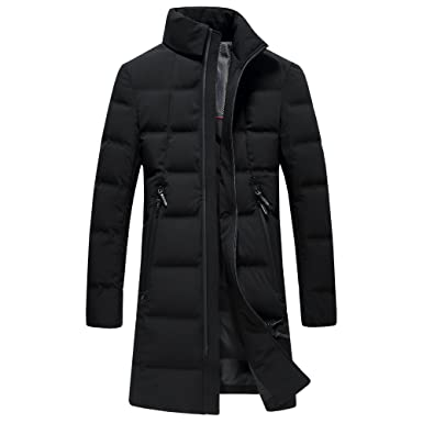 7aea41b4d8 SUNNY SHOP Thick Packable Down Jacket Men Long Winter Coat for Men  Waterproof Snow Parka with