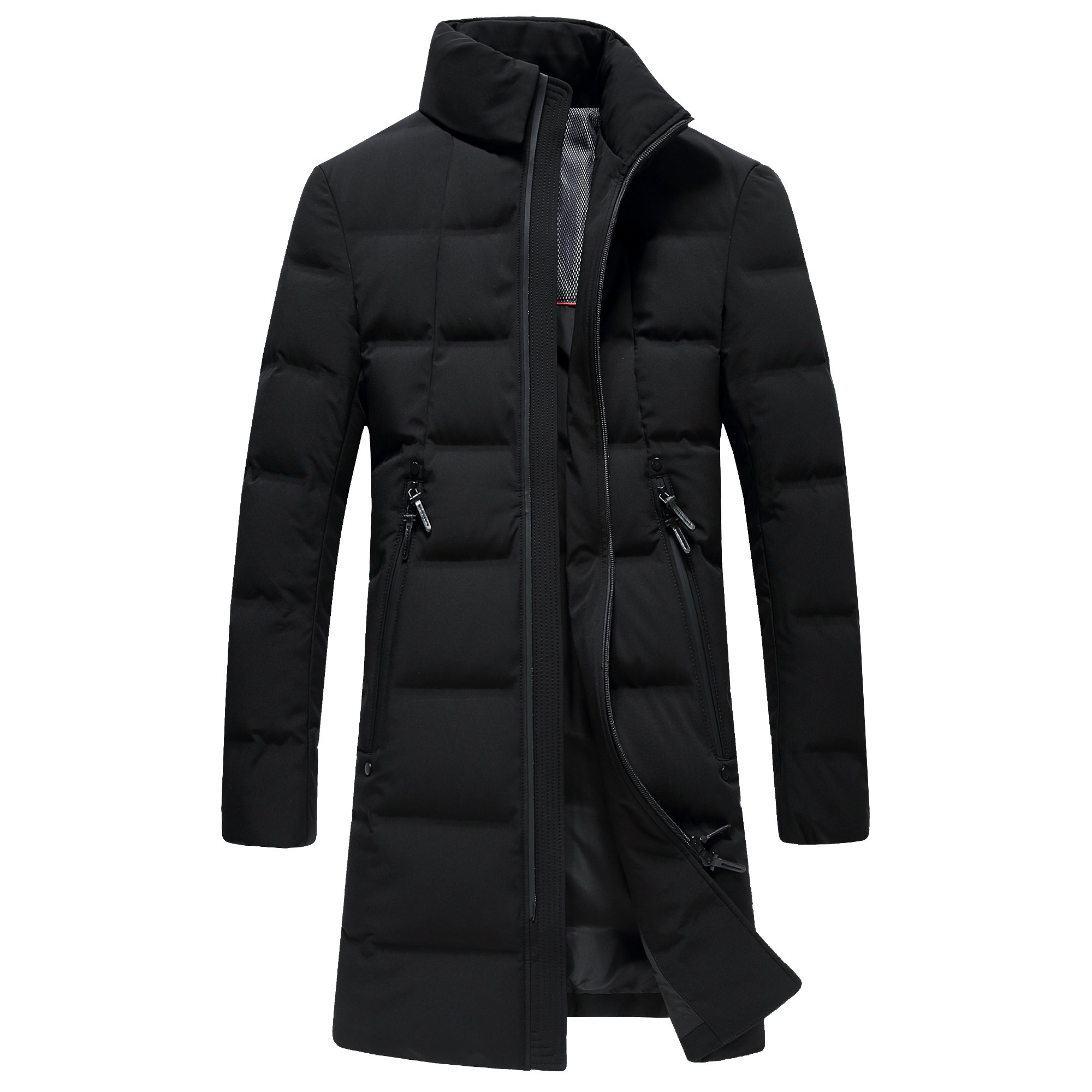 SUNNY SHOP Packable Down Jacket Men Long Winter Sale Thick White Duck Down Coat With Bag Zipper Pocket (Black, XXXL) by SUNNY SHOP