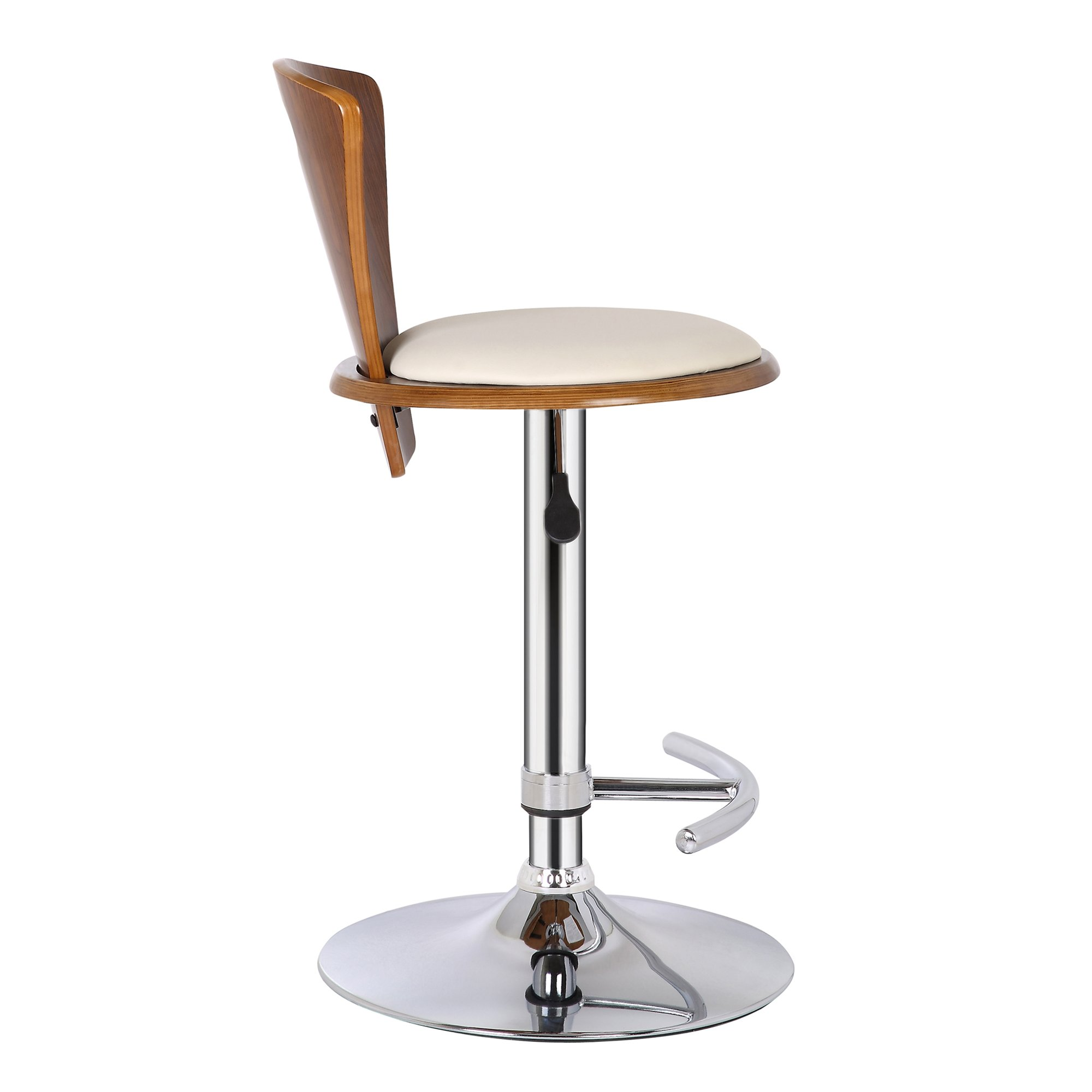 Armen Living LCSEBACRWA Seattle Barstool in Cream Faux Leather, Walnut Wood and Chrome Finish by Armen Living (Image #5)