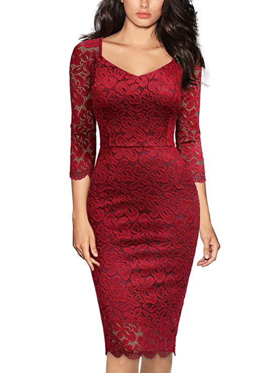 Miusol Women's Deep-V Neck Ruffles Floral Lace Fitted Retro Evening Pencil Dress (XX-Large, G-Black)
