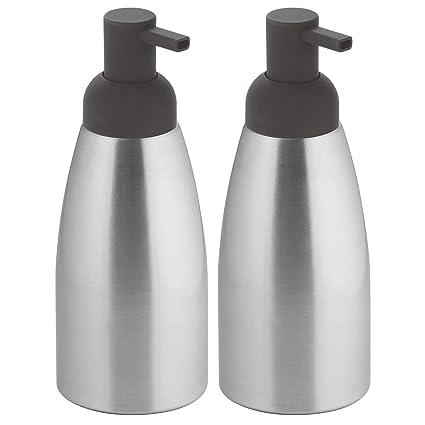 mDesign Juego de 2 dosificadores de jabón para baño y cocina – Modernos dispensadores de jabón