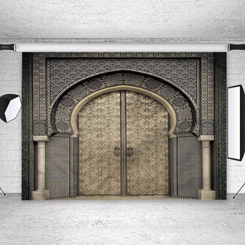 8x8FT Vinyl Photo Backdrops,Moroccan,Aged Gate Geometric Background for Selfie Birthday Party Pictures Photo Booth Shoot