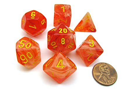 Polyhedral 7 Die Ghostly Glow Chessex Dice Set Orange With Yellow Numbers