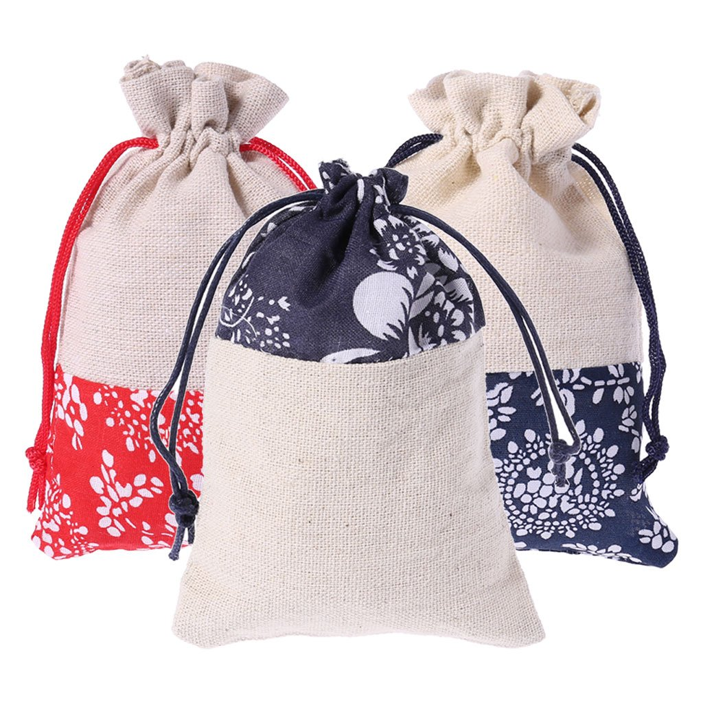 03# Sarora Drawstring Bag,Cotton Linen Pouch Drawstring Jewelry Wedding Favors Gift Bag Storage Handmade