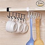 Alliebe 2pcs tazas vasos de vino de almacenamiento ganchos utensilios de cocina lazos cinturones y bufanda colgando gancho soporte de rack debajo del gabinete armario sin perforación (blanco y negro)
