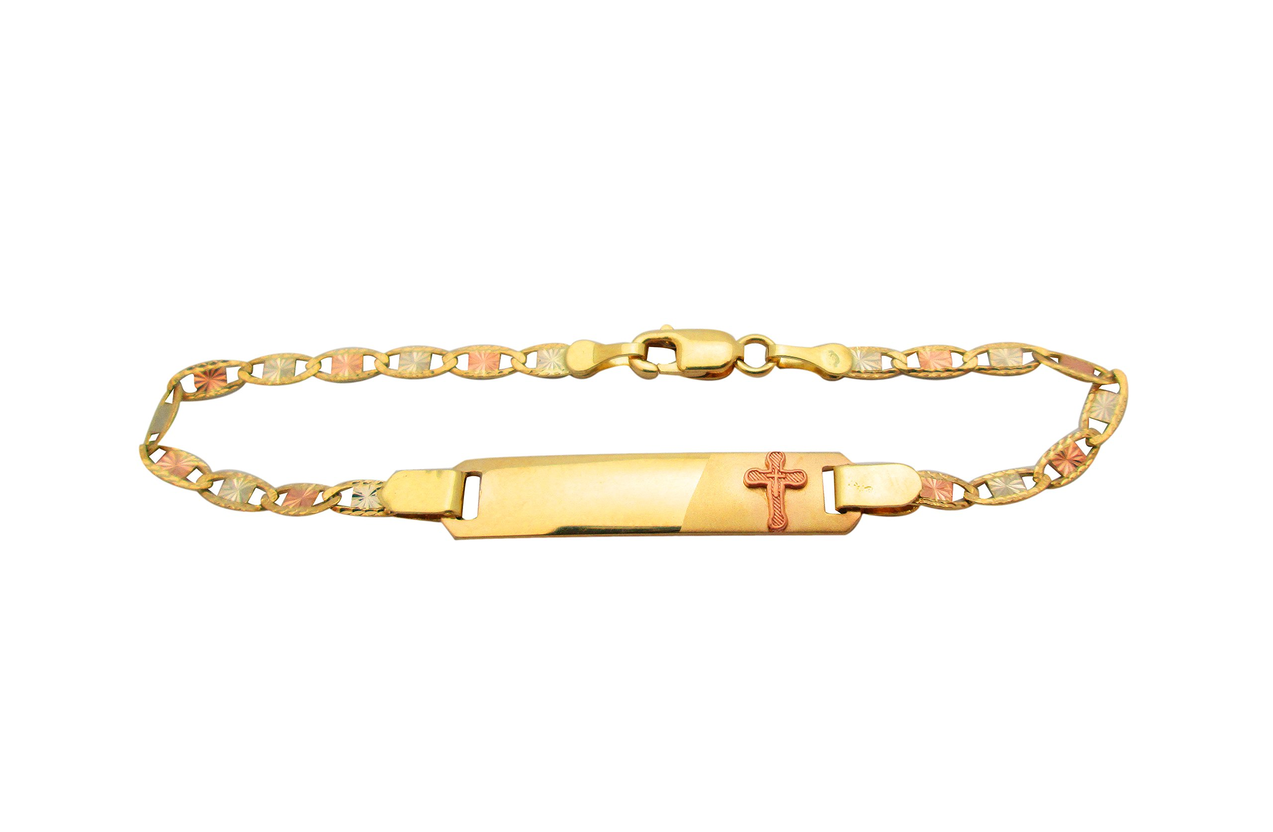 Children's Babies 10k Tri Gold Valentino link ID Bracelet 5.5 in With Cross by AMZ Jewelry