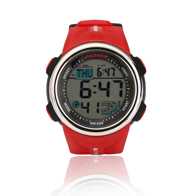 Teenagers Sport Watch | Multifunctional Wrist Clock | Digital Display | 5ATM Waterproof| EL Backlight | Stopwatch | Chronograph | 3 Alarms | Chime | PU Strap for Boys Girls (Red)