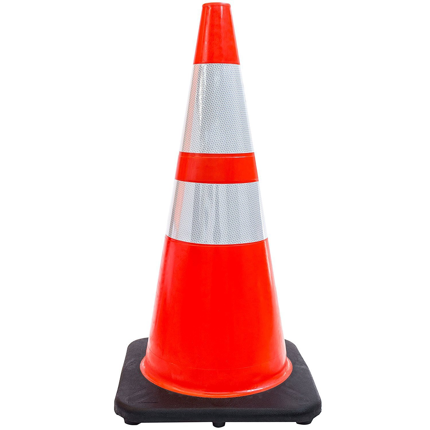 (Set of 48) 28'' RK Orange Safety Traffic PVC Cones, Black Base with Two Reflective Collars
