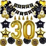 ZERODECO Schwarz Gold 40 H/ängende Strudel Dreieckige Wimpel Stern Ornamente Geburtstag Konfetti Party Zubeh/ör Set Nummer und Sternf/örmige Folienballons Happy Birthday 40 Geburtstag Dekoration