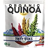 Happy Andes Red Organic Quinoa 3 lbs - Non Gluten, Whole Grain Rice Substitute - Ready to Cook Food for Oats & Seeds Recipes