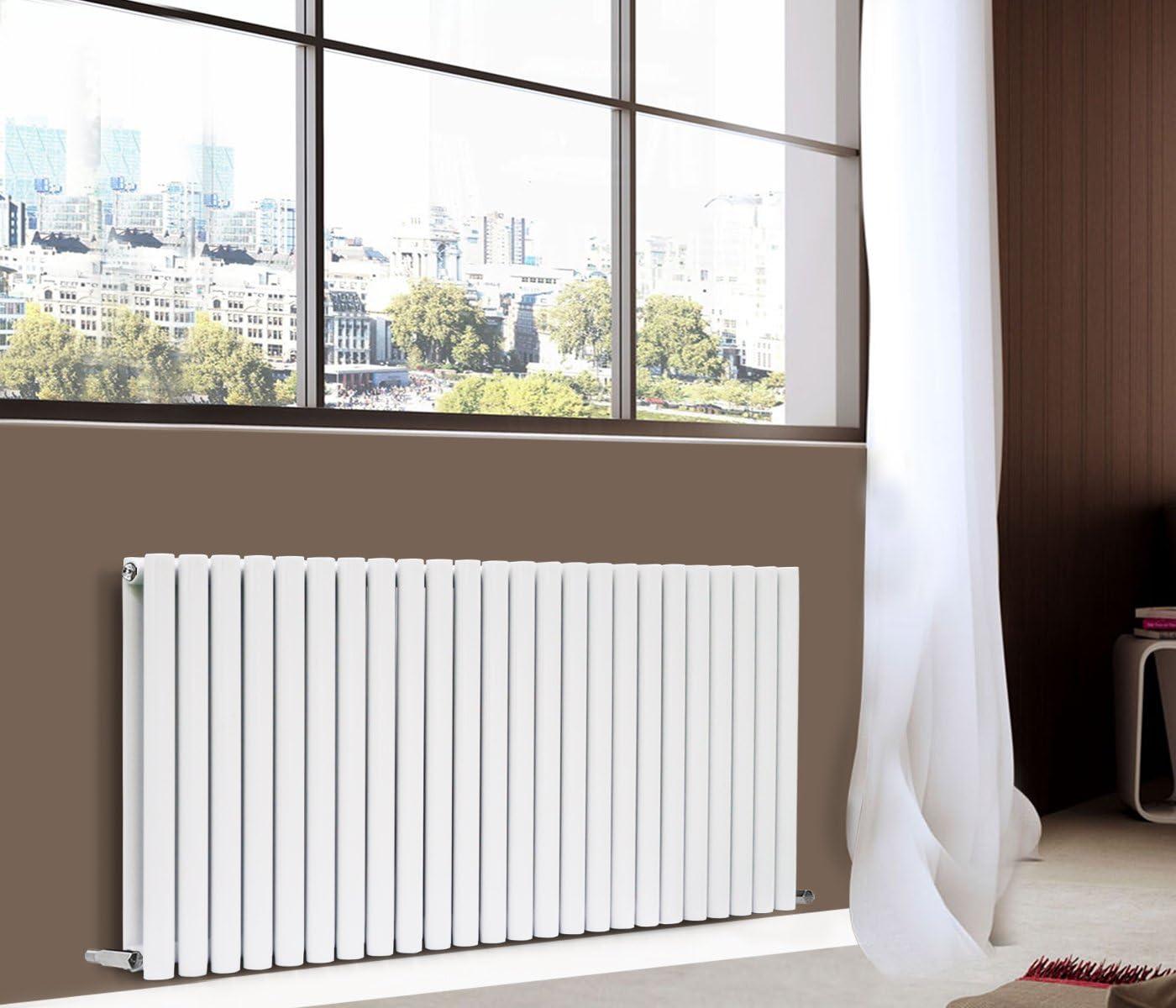 NRG 600x1416mm White Double Panel Horizontal Oval Column Designer Radiator Modern Bathroom Central Heating 15 Year Guarantee