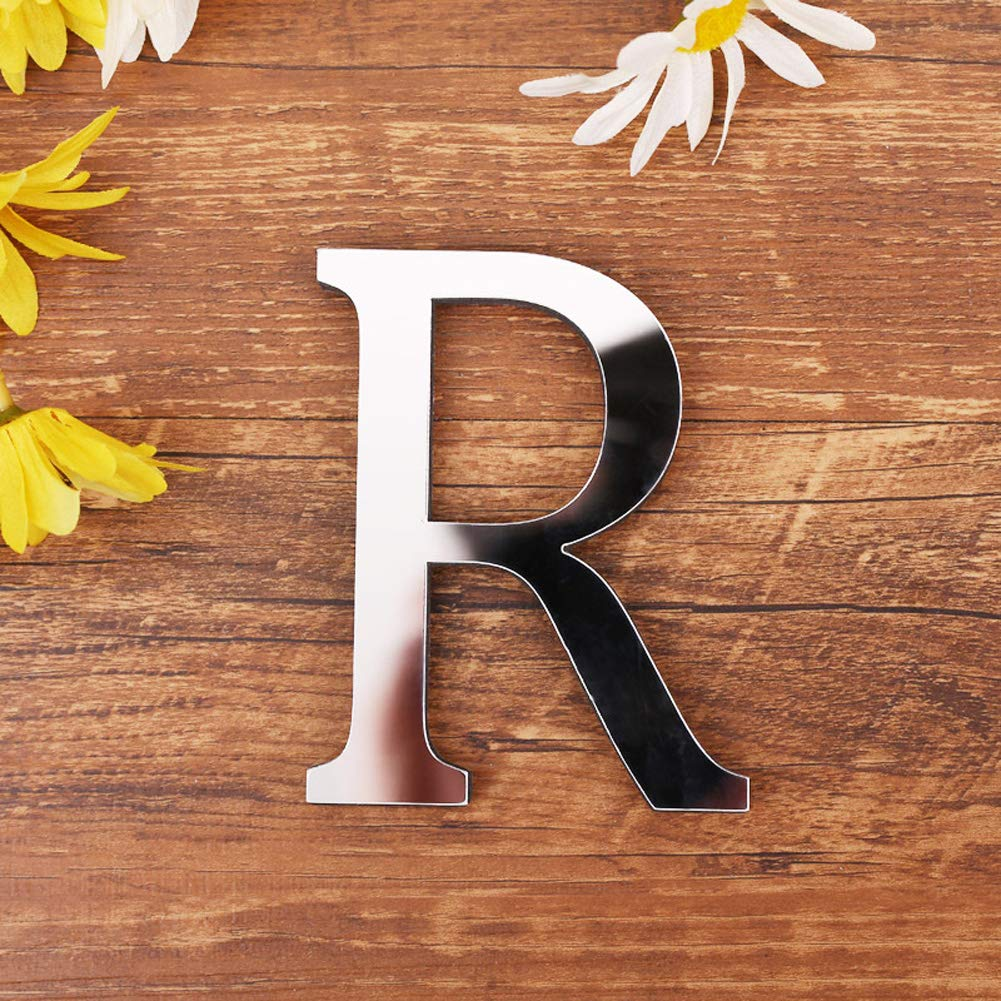 ❤ A-Z with /& Creative Wall Stickers for Home Decor L 26 Letters Decor with Reflecting Mirror