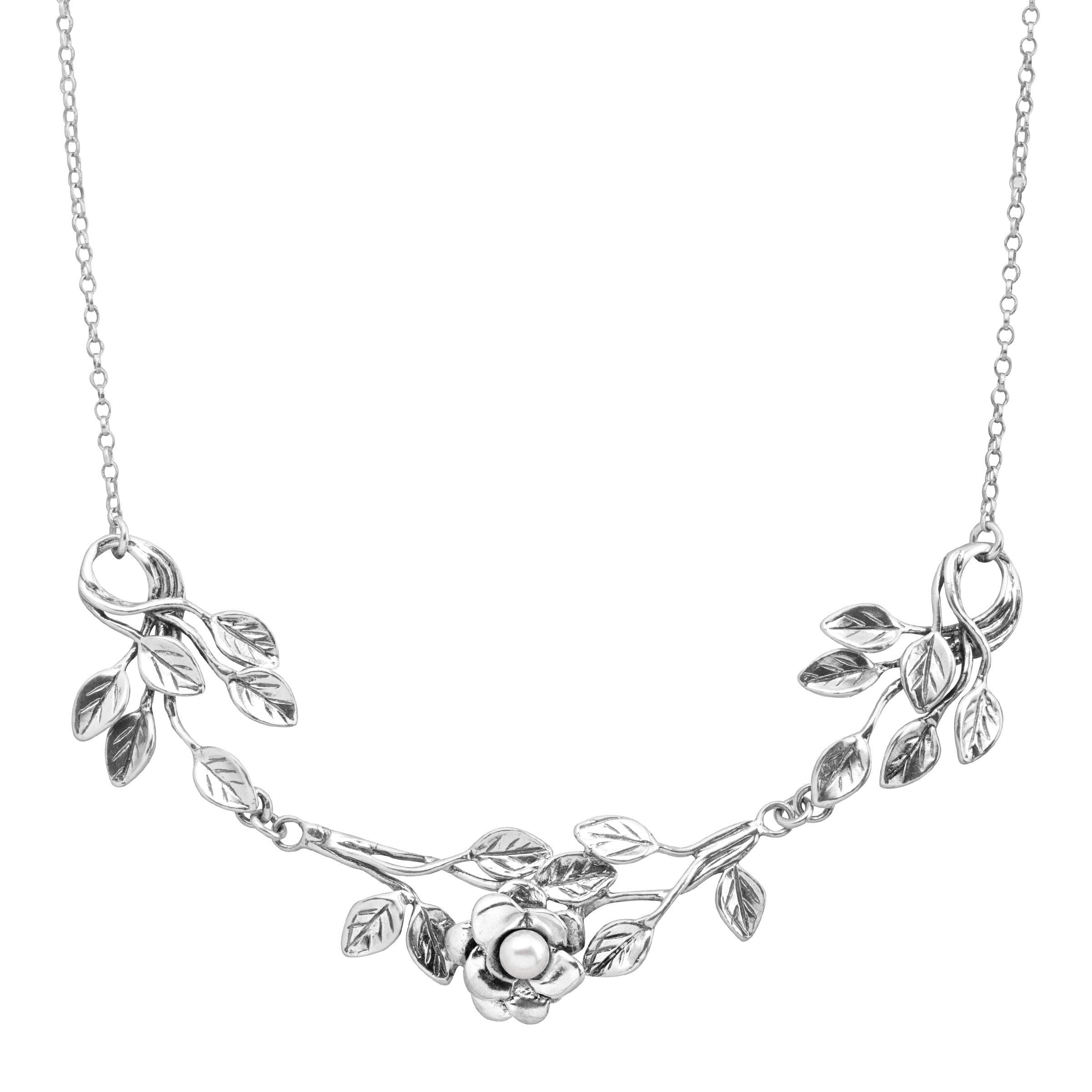 Silpada 'Rhyme or Rhythm' 4 mm Freshwater Cultured Pearl Vine Necklace in Sterling Silver