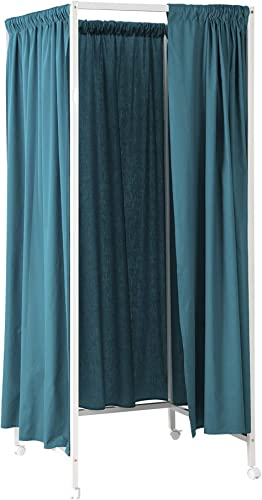 Don t Look at Me – Portable Changing Room Divider – White Frame with Ocean Depths Teal Cotton Fabric and Casters