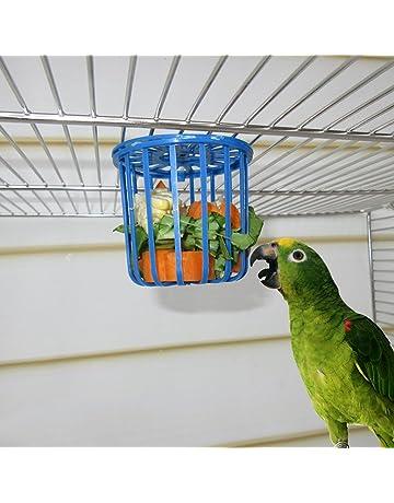 ECMQS Bird Feeder, Jaula Fruta Verduras Soporte Jaula Häng Extremos Cesta Depósito