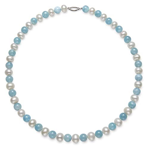 Belacqua Sterling Silver Cultured Freshwater Pearl and Natural Milky Aquamarine Gemstone Strand Necklace, 18