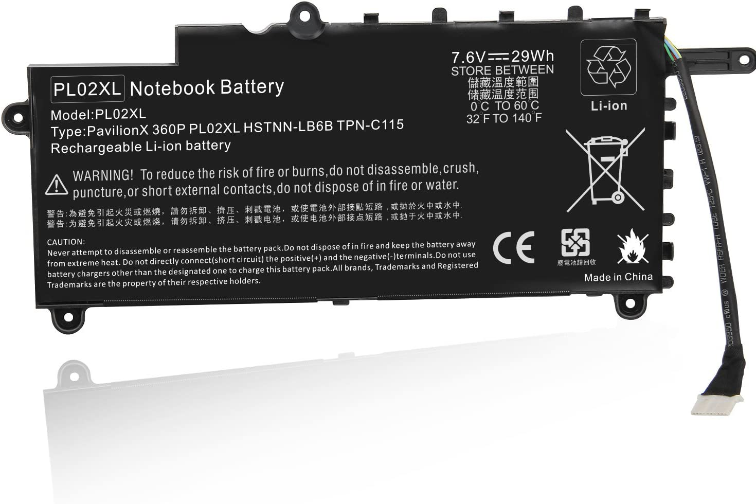 PL02XL Battery for HP Pavilion 11 X360 11-n x360 Series 11-n010dx Hstnn-lb6b 751681-421 TPN-C115 PTN-C115 751875-001 751681-231