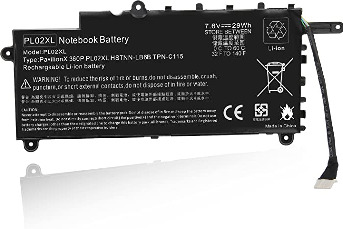 PL02XL Battery for HP Pavilion 11 X360 11-n x360 Series 11-n010dx Hstnn-lb6b 751681-421 TPN-C115 PTN-C115 751875-001 751681-231