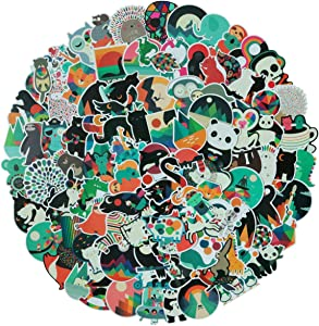 100PCS Cute Color Cartoon Animal Decal Stickers for Laptop and Water Bottles,Waterproof Durable Trendy Vinyl Laptop Decal Stickers Pack for Teens, Water Bottles, Computer, Travel Case (Animal World)