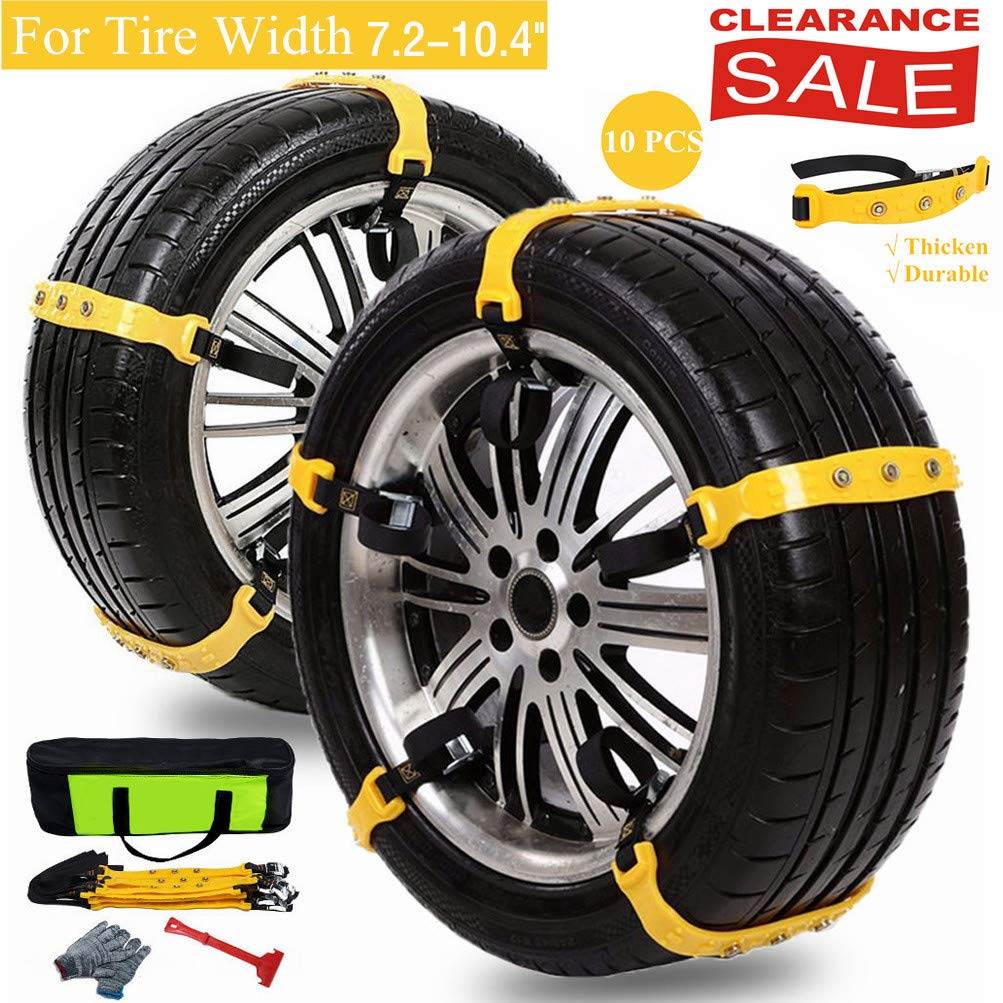 Mannice Anti Slip Snow Chains for SUV Car Adjustable Universal Emergency Thickening Anti Skid Tire Chain,Winter Driving Security Chains,Traction Mud Snow Chains,Fit for Most Car/Truck,10 Pcs