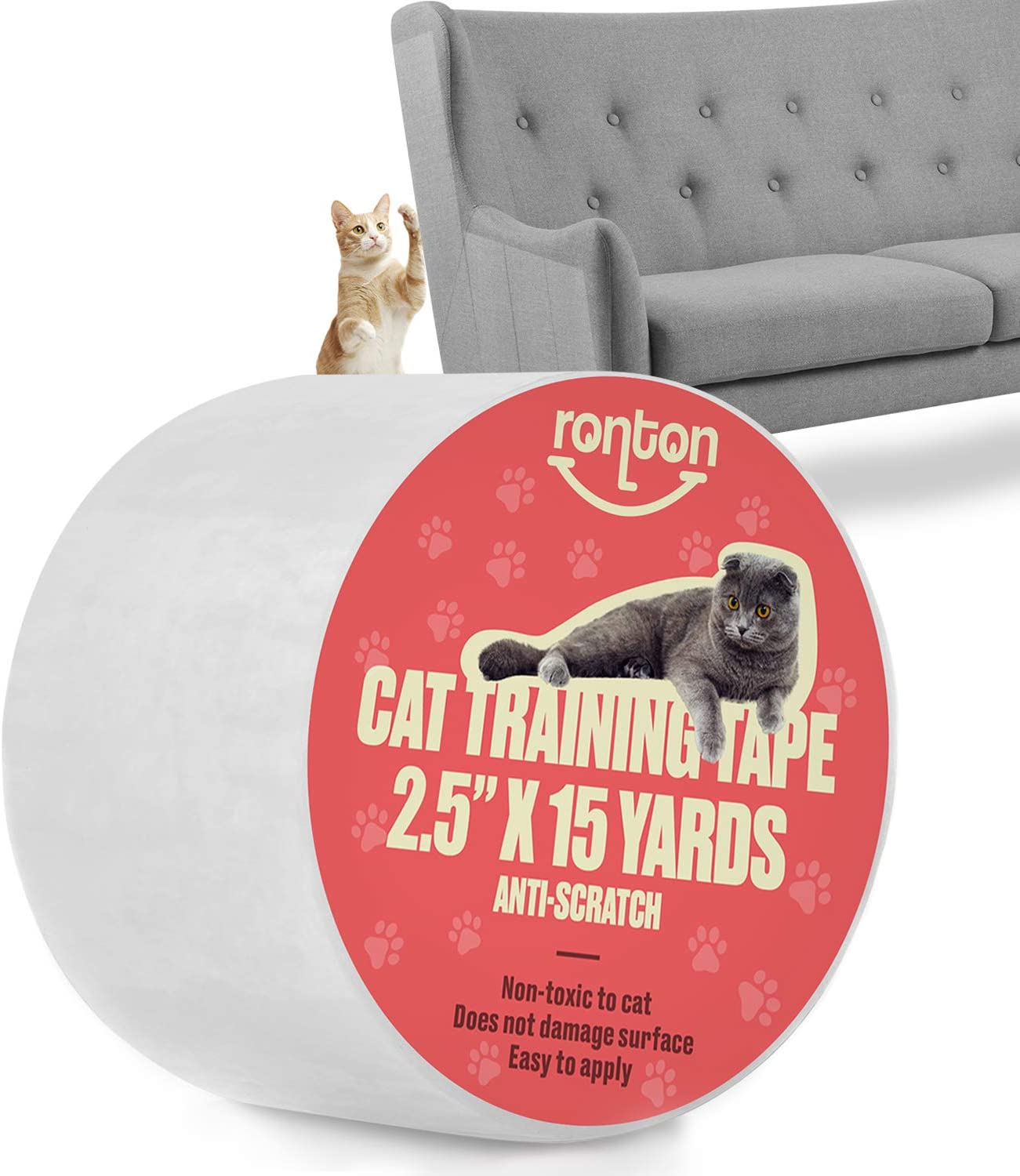 Ronton Cat Scratch Deterrent Tape - Anti Scratch Tape for Cats | 100% Transparent Clear Double Sided Training Tape | Pet & Kid Safe | Furniture, Couch, Door Protector