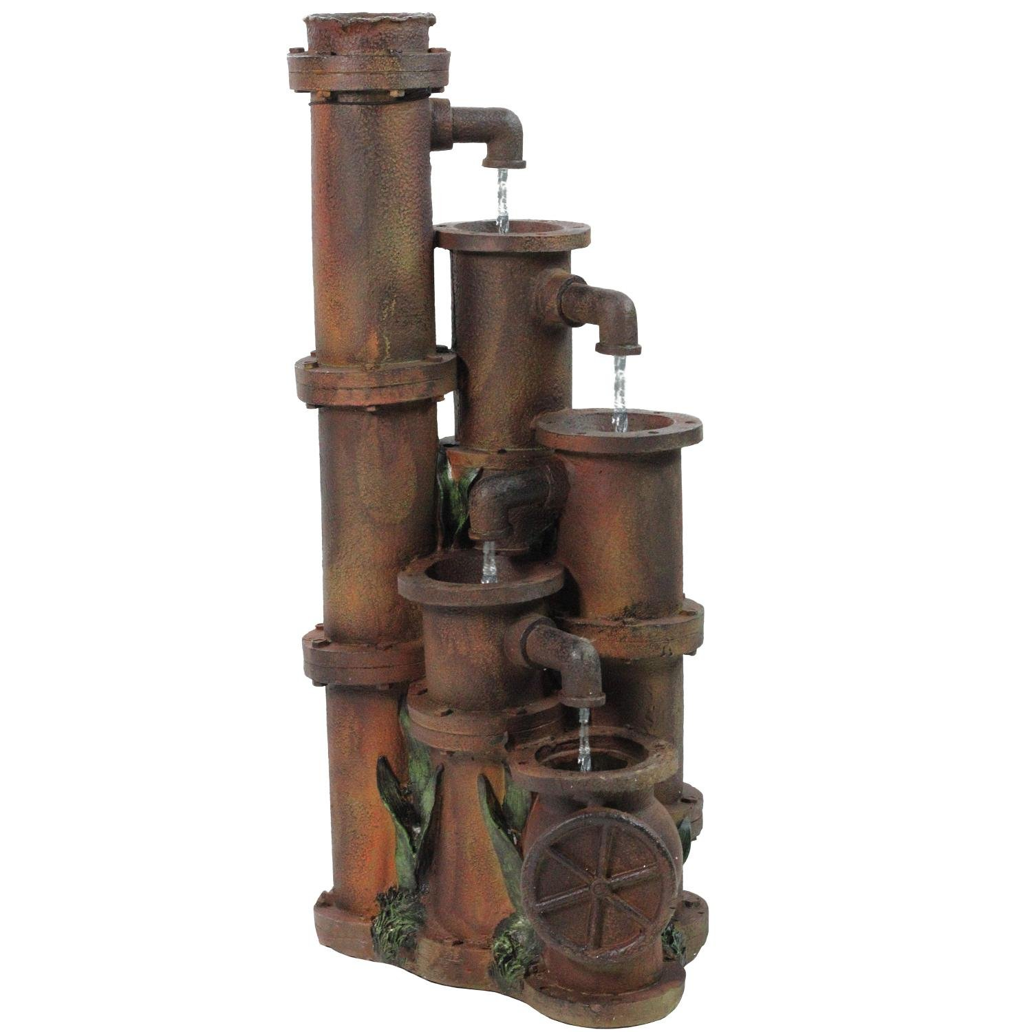Northlight Rusted Cascading Pipes Outdoor Patio Garden Water Fountain, 23.5