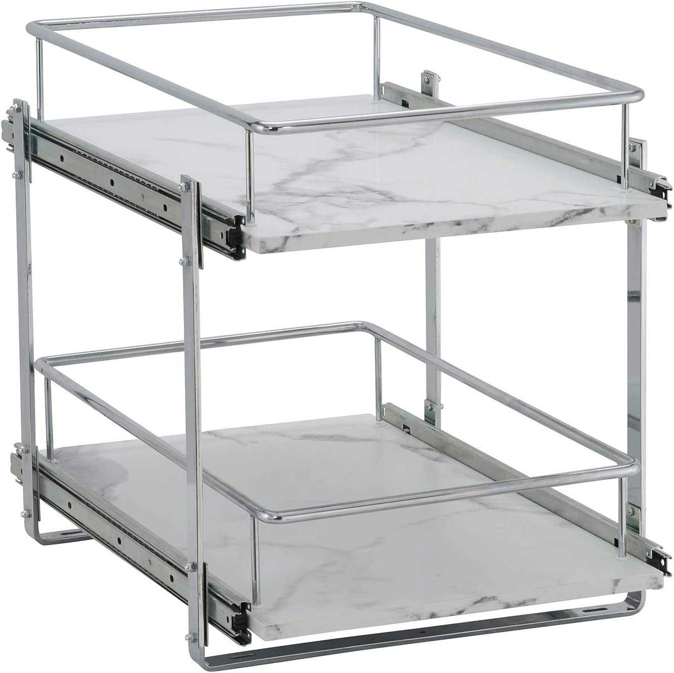 Amazon Com Household Essentials Faux Marble C53345 1 Glidez 2 Tier Kitchen Cabinet Organizer Pull Out Shelves For Storage 22 In D X 14 5 In W X 17 In H Wide Home Kitchen