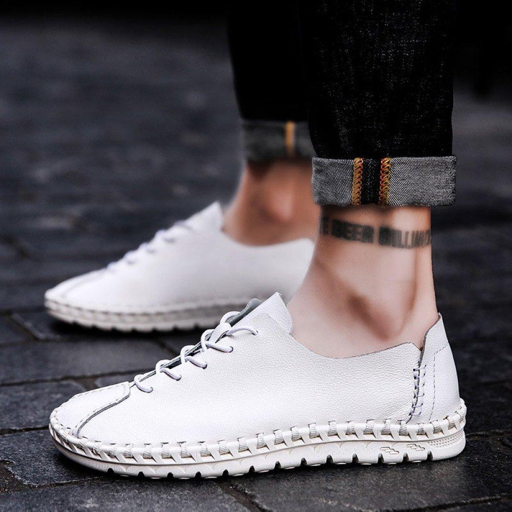 ZLLNSPX Herren Freizeitschuhe Wildleder Schuhe Schuhe Englisch Style Faule Schuhe Wildleder Weiß bc4444