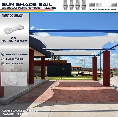 Windscreen4less Terylene Waterproof Sun Shade Sail UV Blocker Rectangle Sunshade Patio Canopy Sail 16' x 24'
