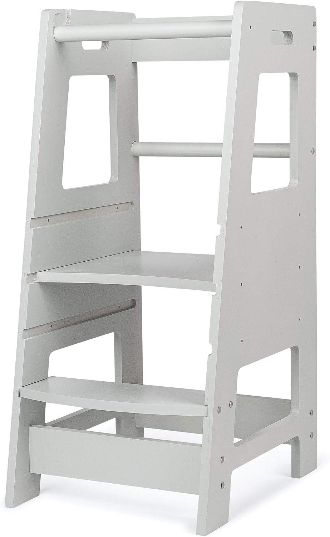 KidzWerks Child Standing Tower - Grey Child Kitchen Step Stool with Adjustable Standing Platform - Wooden Montessori Standing Tower - Kid's Step Stool