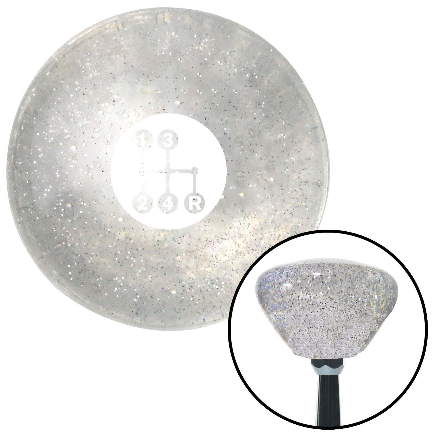 American Shifter 286458 Shift Knob White 4 Speed Shift Pattern - Dots 6 Clear Retro Metal Flake with M16 x 1.5 Insert