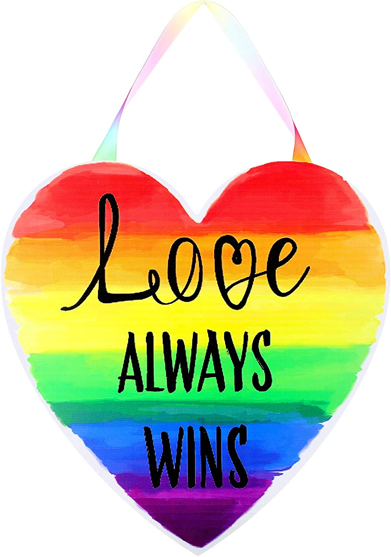 Love Always Wins Wooden Door Sign Rainbow Hanging Door Decor Welcome Wall Sign Ornament Gay Pride LGBT Pride for Indoor Outdoor Decoration