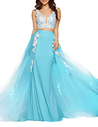 Fashion Prom Dress Two Pieces 2018 Party Gown for Women Empire Waist Lace Appliqued V Neck