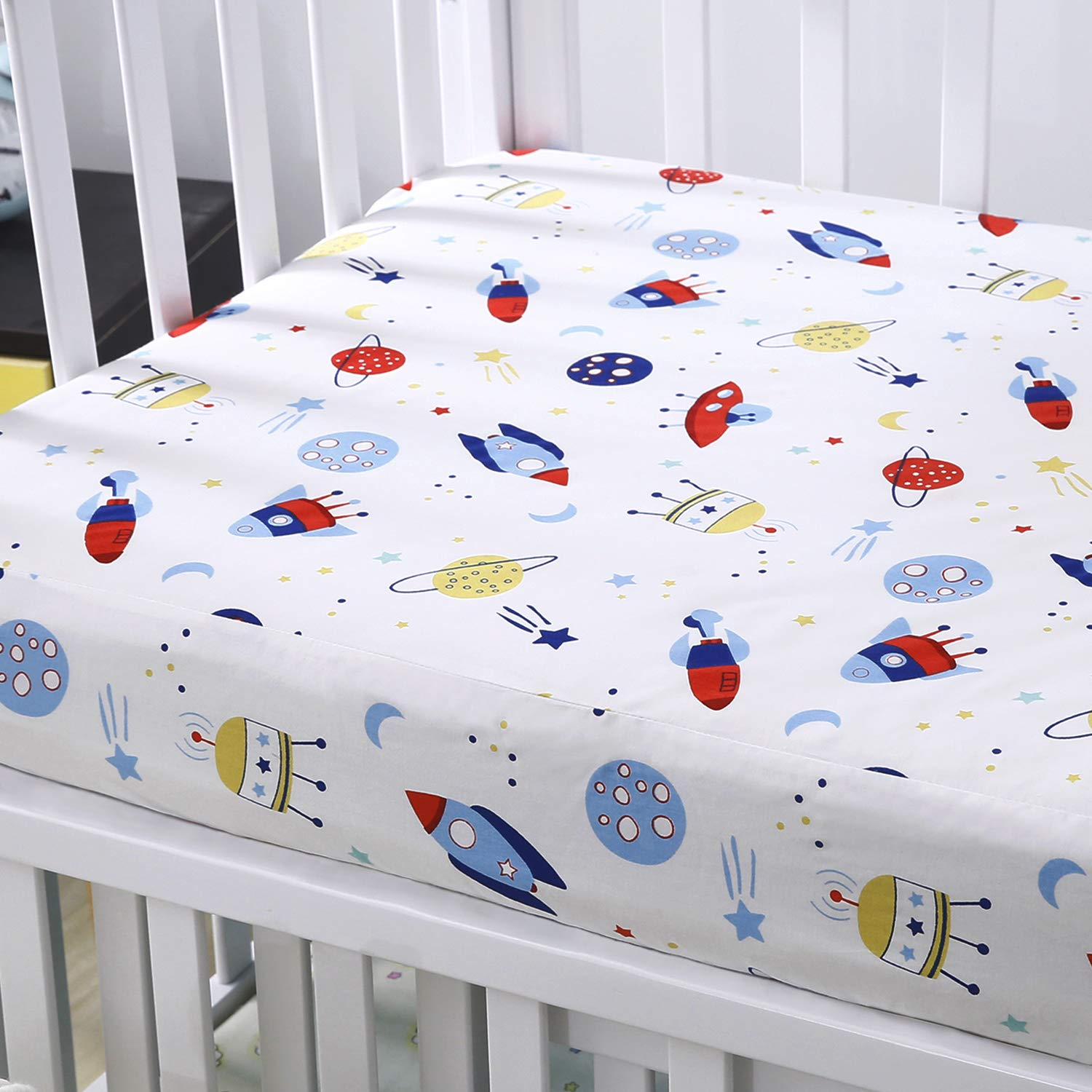 Cok Fitted Crib Sheet, 100% Cotton, Breathable Cozy and Hypoallergenic Baby Crib Sheet for Standard Crib and Toddle Mattress. (1 Pack, Planet)